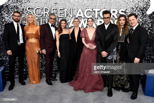 Dustin Milligan Catherine O'Hara Eugene Levy Sarah Levy Jennifer Robertson Emily Hampshire Dan Levy Annie Murphy and Noah Reid attend the 26th Annual...