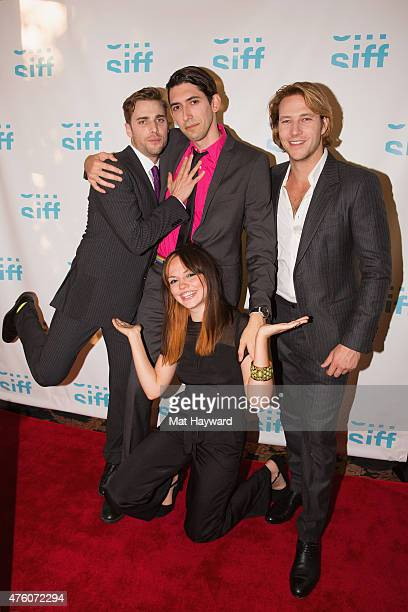 Dustin Milligan, Max Landis, Luke Bracey and Emily Meade attend the premiere of 'Me Him Her' during the Seattle International Film Festival at...