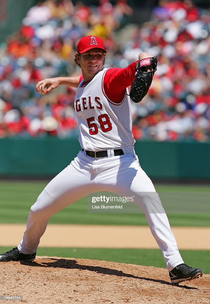 Dustin Moseley #58 of the Los Angeles Angels of Anaheim pitches against the Pittsburgh Pirates at Angels Stadium on June 24, 2007 in Anaheim, California.