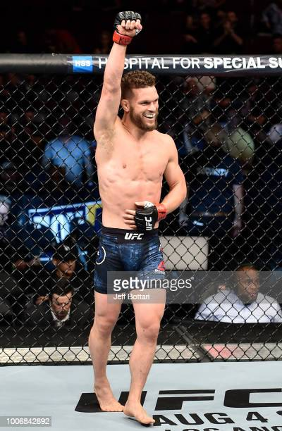Dustin Ortiz celebrates after his knockout victory over Matheus Nicolau in their flyweight bout during the UFC Fight Night event at Scotiabank...