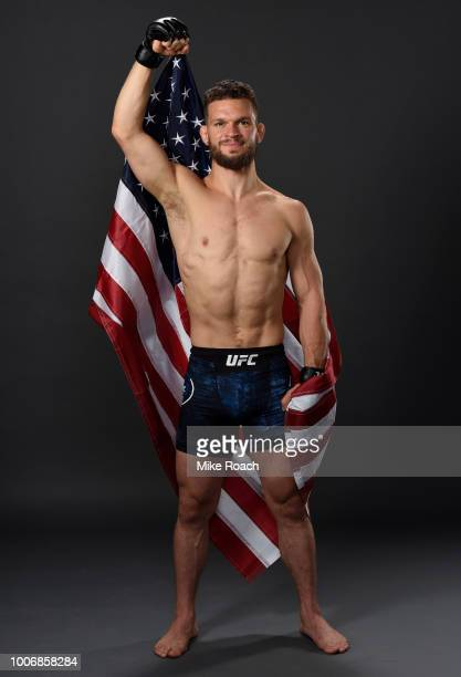 Dustin Ortiz poses for a portrait backstage after his victory over Matheus Nicolau during the UFC Fight Night event at Scotiabank Saddledome on July...
