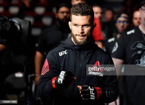 Dustin Ortiz prepares to fight Matheus Nicolau of Brazil in their flyweight bout during the UFC Fight Night event at Scotiabank Saddledome on July 28...