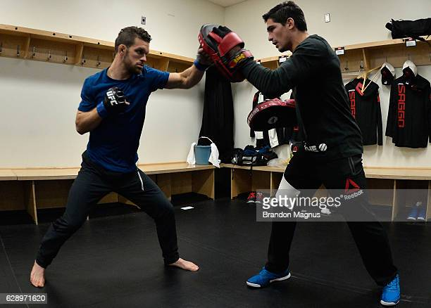 Dustin Ortiz warms up backstage during the UFC 206 event inside the Air Canada Centre on December 10, 2016 in Toronto, Ontario, Canada.