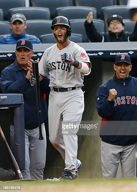 Dustin Pedroia of the Boston Red Sox celebrates as both Jarrod Saltalamacchia and Jonny Gomes score in the ninth inning against the New York Yankees...