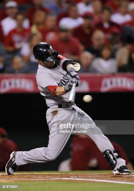 Dustin Pedroia of the Boston Red Sox grounds out in the first inning against the Los Angeles Angels of Anaheim in Game Two of the ALDS during the MLB...