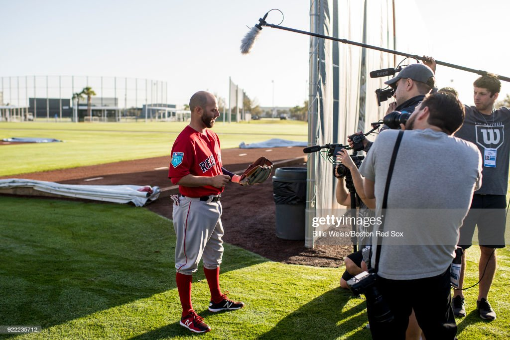 Dustin Pedroia #15 of the Boston Red Sox is interviewed for Wilson gloves during a team workout on February 21, 2018 at jetBlue Park at Fenway South in Fort Myers, Florida .