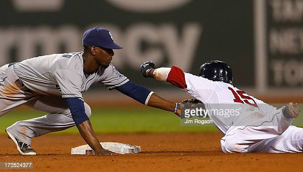 Dustin Pedroia of the Boston Red Sox is tagged out by Pedro Ciriaco of the San Diego Padres after over sliding second base in a steal attempt in the...