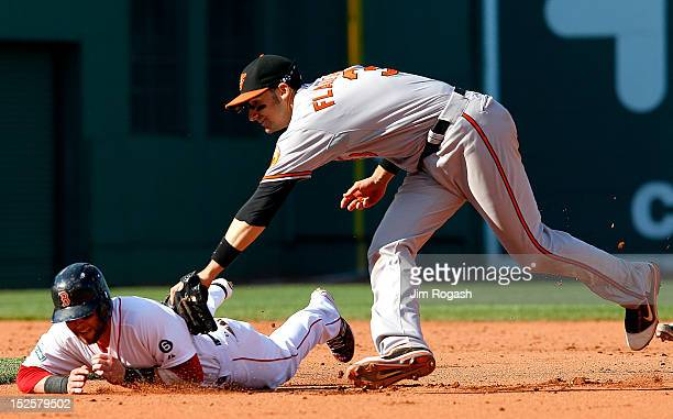 Dustin Pedroia of the Boston Red Sox is tagged out by Ryan Flaherty of the Baltimore Orioles in the seventh inning at Fenway Park on September 22...