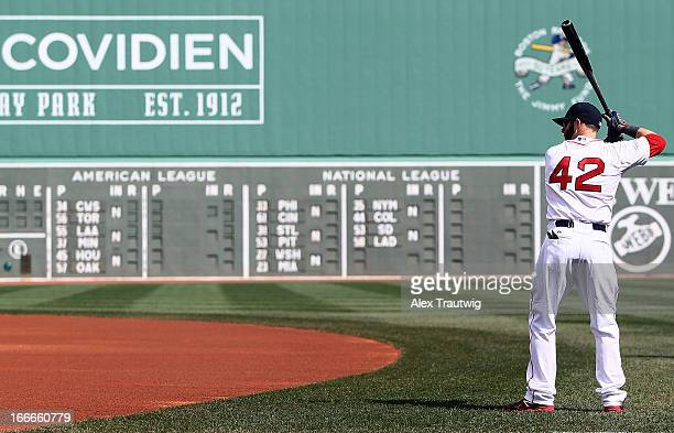 Dustin Pedroia of the Boston Red Sox looks on prior to a game against the Tampa Bay Rays at Fenway Park on April 15 2013 in Boston Massachusetts All...