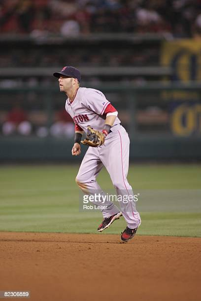 July 18: Dustin Pedroia of the Boston Red Sox plays second base during the game against the Los Angeles Angels of Anaheim at Angel Stadium in...