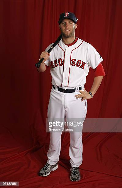 Dustin Pedroia of the Boston Red Sox poses during photo day at the Boston Red Sox Spring Training practice facility on February 28 2010 in Ft Myers...