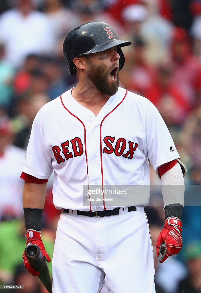 Dustin Pedroia #15 of the Boston Red Sox reacts after being called out on strikes in the second inning against the Houston Astros during game four of the American League Division Series at Fenway Park on October 9, 2017 in Boston, Massachusetts.