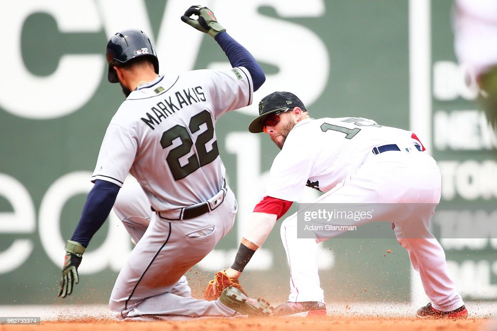 Dustin Pedroia #15 of the Boston Red Sox tags out Nick Markakis #22 of the Atlanta Braves at second base in the third inning of a game at Fenway Park on May 26, 2018 in Boston, Massachusetts.