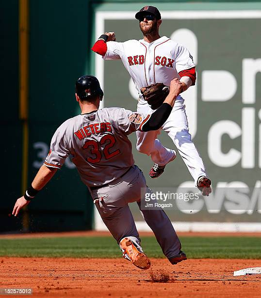 Dustin Pedroia of the Boston Red Sox turns a double play as Matt Wieters of the Baltimore Orioles slides late into second base in the third inning at...
