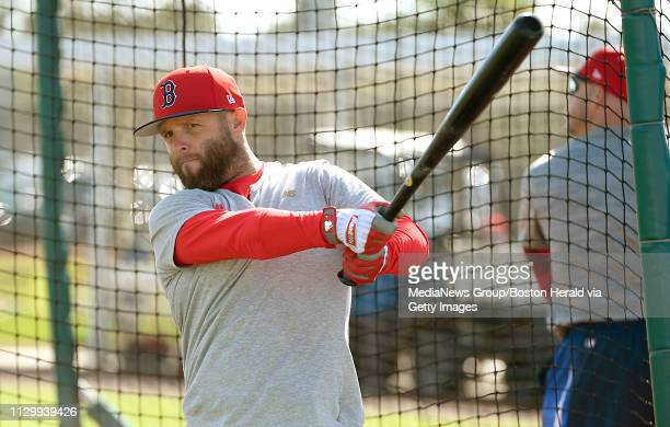 Dustin Pedroia of the Boston Red Sox warms up to take batting practice during a spring training workout in Fort Myers Florida on February 15 2019