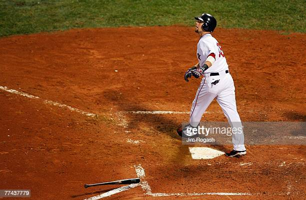 Dustin Pedroia of the Boston Red Sox watches his tworun home run in the seventh inning against the Cleveland Indians during Game Seven of the...