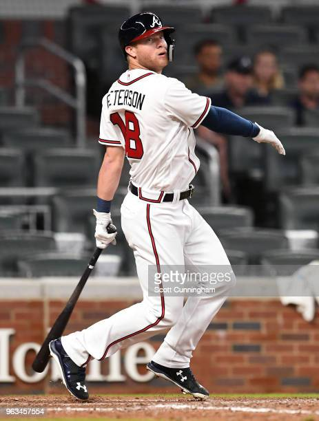 Dustin Peterson of the Atlanta Braves fouls off a pitch during his first MLB atbat in the ninth inning against the New York Mets at SunTrust Field on...