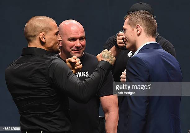 Dustin Poirier and Joe Duffy face off during the UFC's Go Big launch event inside MGM Grand Garden Arena on September 4 2015 in Las Vegas Nevada