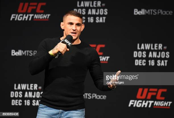 Dustin Poirier answers questions during a QA during the UFC Fight Night weighin on December 15 2017 in Winnipeg Canada