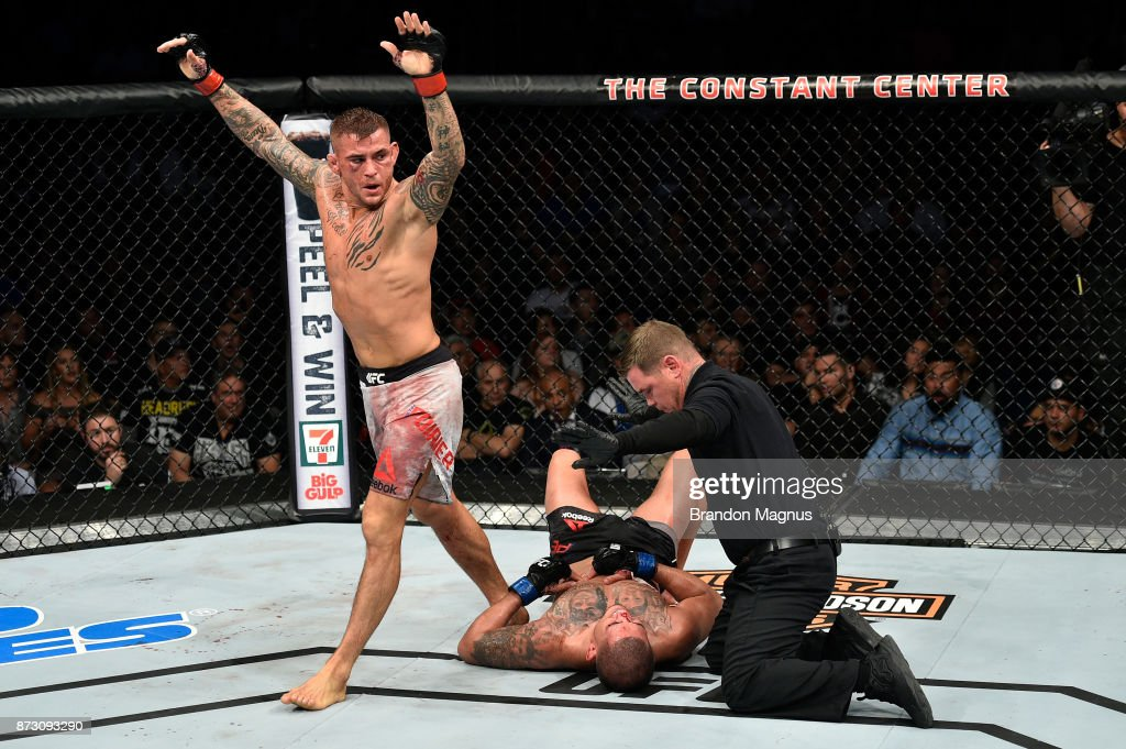 Dustin Poirier celebrates after defeating Anthony Pettis by TKO in their lightweight bout during the UFC Fight Night event inside the Ted Constant Convention Center on November 11, 2017 in Norfolk, Virginia.