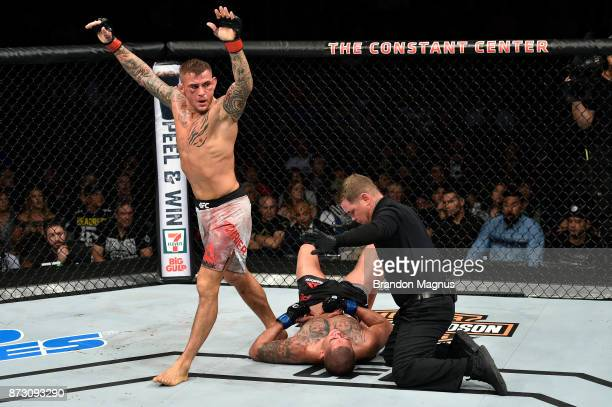 Dustin Poirier celebrates after defeating Anthony Pettis by TKO in their lightweight bout during the UFC Fight Night event inside the Ted Constant...