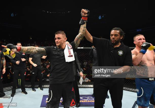Dustin Poirier celebrates his victory over Justin Gaethje in their lightweight fight during the UFC Fight Night event at the Gila Rivera Arena on...