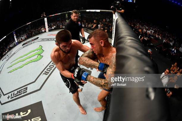 Dustin Poirier elbows Khabib Nurmagomedov of Russia in their lightweight championship bout during UFC 242 at The Arena on September 7 2019 in Yas...