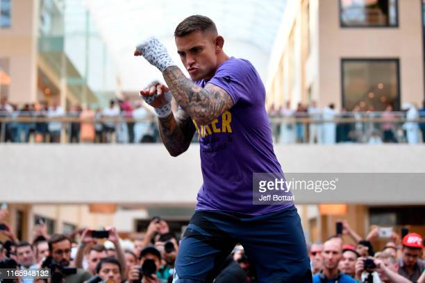 Dustin Poirier holds an open training session for fans and media at Yas Mall on September 4 2019 in Abu Dhabi United Arab Emirates