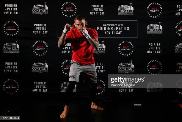 Dustin Poirier holds an open workout session for fans and media on November 9 2017 in Norfolk Virginia