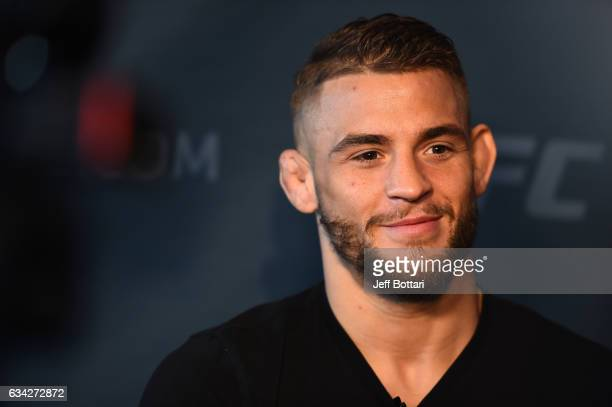 Dustin Poirier interacts with the media during the UFC 208 Ultimate Media Day at the Barclays Center on February 8 2017 in Brooklyn New York