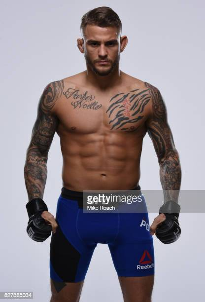 Dustin Poirier poses for a portrait during a UFC photo session inside the New York Marriott at the Brooklyn Bridge on February 8 2017 in Brooklyn New...