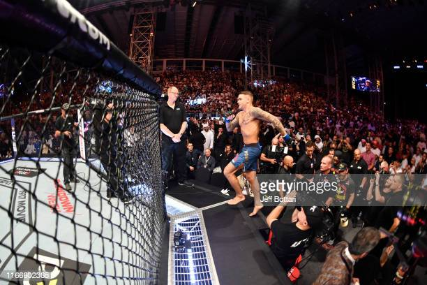 Dustin Poirier prepares to enter the Octagon prior to his lightweight championship bout against Khabib Nurmagomedov of Russia during UFC 242 at The...