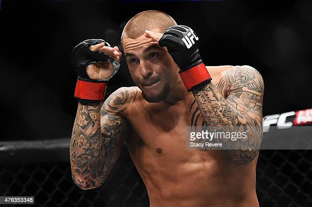 Dustin Poirier squares up against Yancy Medeiros in their lightweight bout during the UFC Fight Night event at Smoothie King Center on June 6 2015 in...