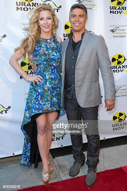 Dustin Quick and actor Esai Morales attend 'The Man Who Saved The World' premiere during the Atomic Age Cinema Fest at Raleigh Studios on April 27...