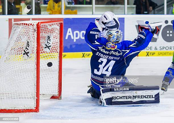 Dustin Strahlmeier of Straubing Tigers during the game between the Straubing Tigers and the Eisbaeren Berlin on October 30 2015 in Hamburg Germany