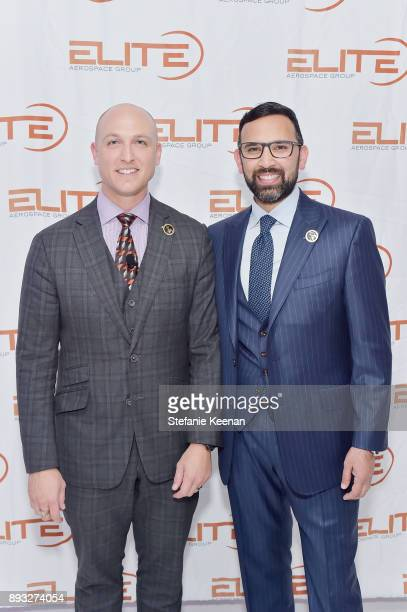 Dustin Tillman and Zeeshawn Zia attend Elite Aerospace Group's 4th Annual Aerospace Defense Symposium at Lyon Air Museum on December 14 2017 in Santa...