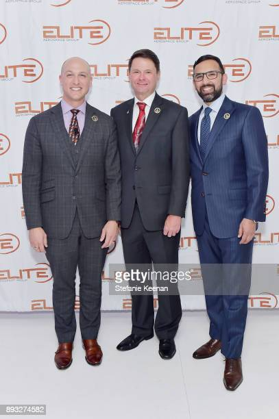 Dustin Tillman Michael Forbes and Zeeshawn Zia attend Elite Aerospace Group's 4th Annual Aerospace Defense Symposium at Lyon Air Museum on December...