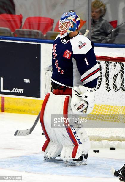 Dustin Tokarski of the Hartford Wolf Pack skates in warmup prior to a game against the Toronto Marlies during AHL game action on October 20, 2018 at...