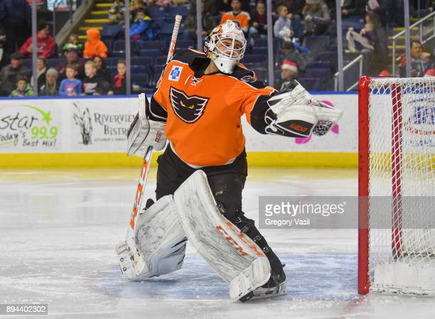 Dustin Tokarski of the Lehigh Valley Phantoms makes a glove save during a game against the Bridgeport Sound Tigers at the Webster Bank Arena on...
