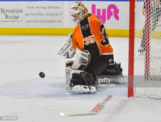 Dustin Tokarski of the Lehigh Valley Phantoms makes a pad save without his stick during a game against the Bridgeport Sound Tigers at the Webster...
