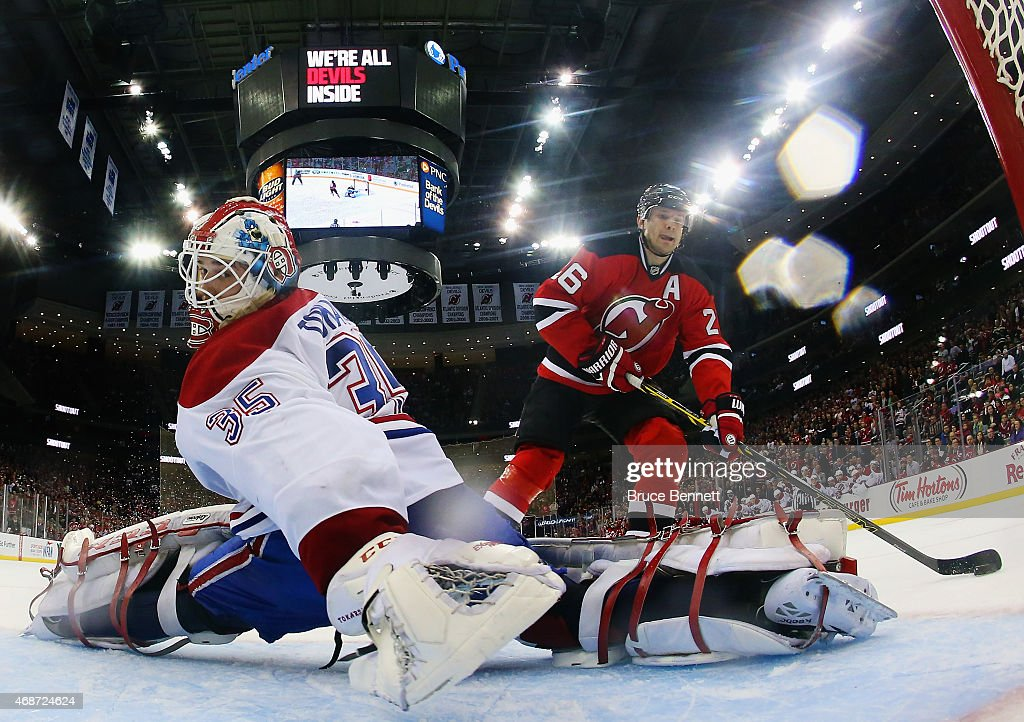 Dustin Tokarski #35 of the Montreal Canadiens skates against the New Jersey Devils at the Prudential Center on April 3, 2015 in Newark, New Jersey.