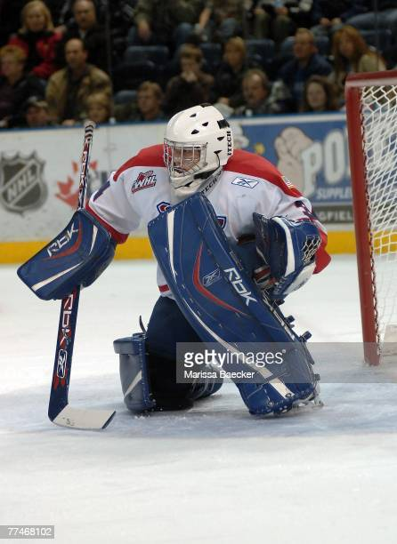 Dustin Tokarski of the Spokane Chiefs defends the net against the Kelowna Rockets at Prospera Place on October 20 2007 in Kelowna British Columbia...