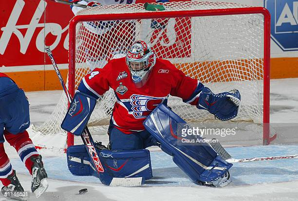 Dustin Tokarski of the Spokane Chiefs makes a save against the Kitchener Rangers in a Memorial Cup round robin game on May 18, 2008 at the Kitchener...