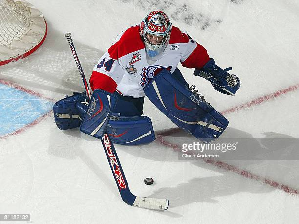 Dustin Tokarski of the Spokane Chiefs stops a shot against the Gatineau Olympiques in Game 5 of Memorial Cup round robin on May 20 2008 at the...