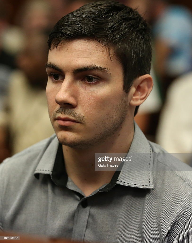 Dustin Van Wyk appears in the Durban Magistrate court for his bail application on April 8, 2013 in Durban, South Africa. Van Wyk is one of the accused charged with the murder of a British Royal Marine, Brett Williams. Williams was beaten to death at a Super XV Match at Durban Stadium.