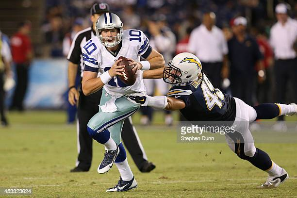 Dustin Vaughan of the Dallas Cowboys is chased by Colton Underwood of the San Diego Chargers during a preseason game at Qualcomm Stadium on August 7...