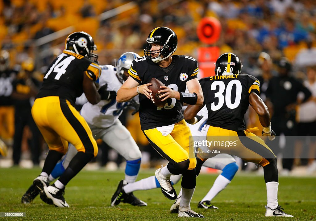 Dustin Vaughan #13 of the Pittsburgh Steelers scrambles in the second half against the Detroit Lions during the game on August 12, 2016 at Heinz Field in Pittsburgh, Pennsylvania.