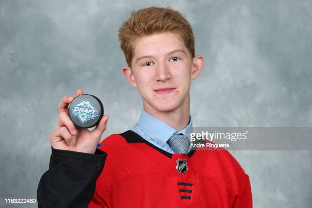 Dustin Wolf 214th overall pick of the Calgary Flames poses for a portrait during Rounds 27 of the 2019 NHL Draft at Rogers Arena on June 22 2019 in...