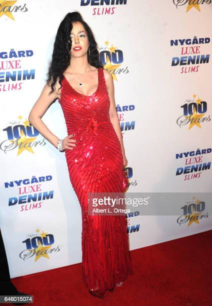 Dustina Meru arrives for the Norby Walters' 27th Annual Night Of 100 Stars Black Tie Dinner Viewing Gala held at The Beverly Hilton Hotel on February...