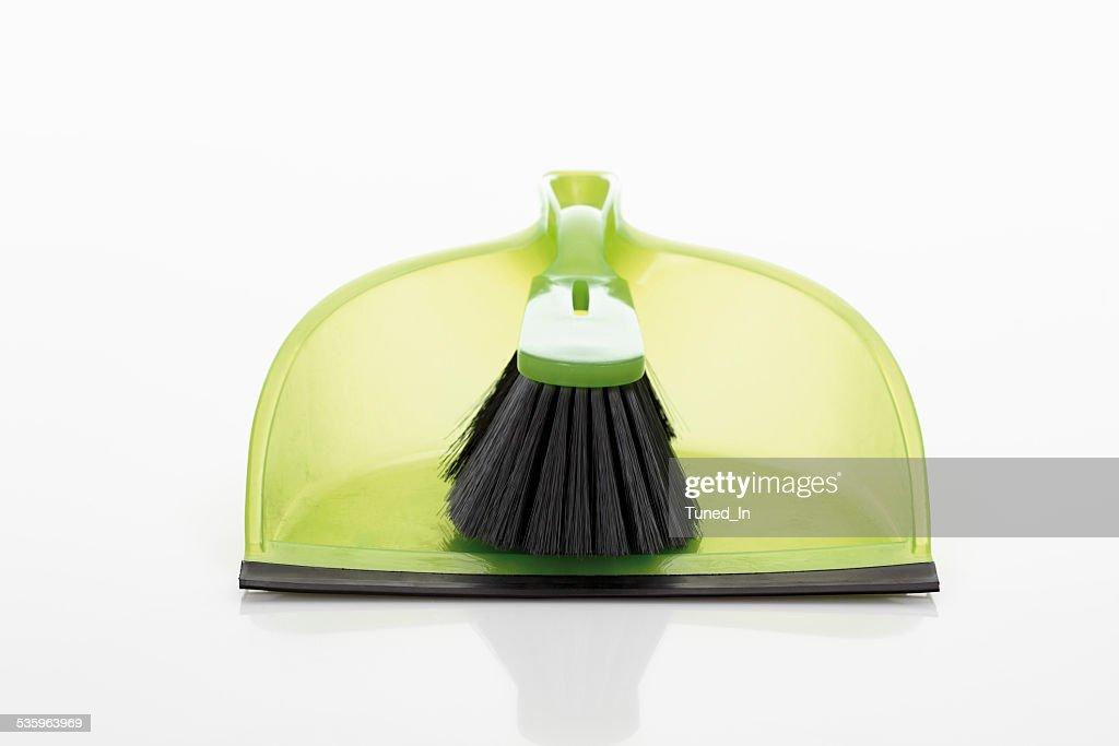 Dustpan and hand brush on white background : Stock Photo